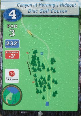 Horning's Hideout, Canyon Course, Hole 4 Hole sign