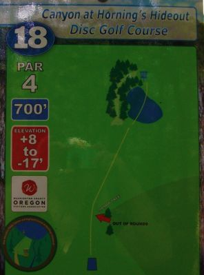Horning's Hideout, Canyon Course, Hole 18 Hole sign