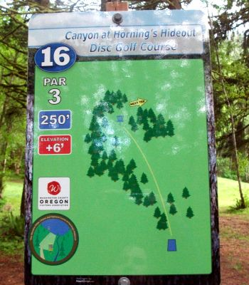 Horning's Hideout, Canyon Course, Hole 16 Hole sign