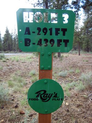 Hyzer Pines at S.O.A.R., Main course, Hole 3 Hole sign