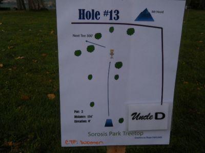 Tree Top DGC at Sorosis Park, Main course, Hole 13 Hole sign