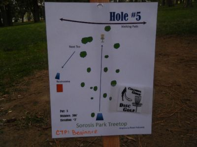 Tree Top DGC at Sorosis Park, Main course, Hole 5 Hole sign