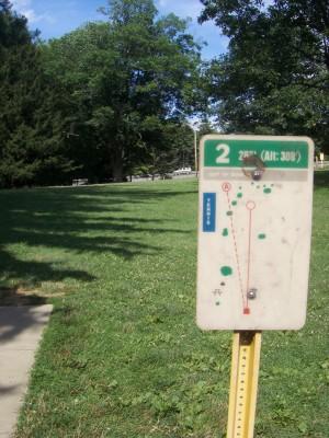 D. F. Buchmiller Park, Main course, Hole 2 Hole sign