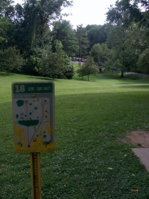 D. F. Buchmiller Park, Main course, Hole 18 Hole sign