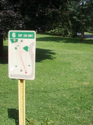D. F. Buchmiller Park, Main course, Hole 6 Hole sign