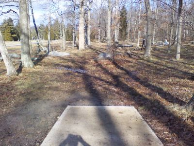 Gifford Pinchot State Park, Boulder Woods, Hole 1 Tee pad