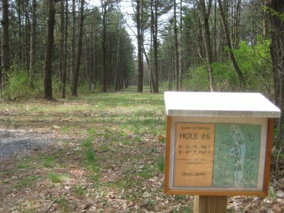 Gifford Pinchot State Park, Quaker's Challenge, Hole 6 Hole sign