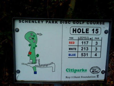 Schenley Park, Main course, Hole 15 Hole sign