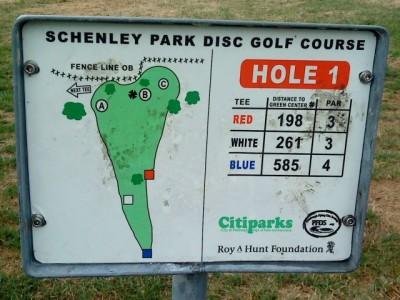 Schenley Park, Main course, Hole 1 Hole sign