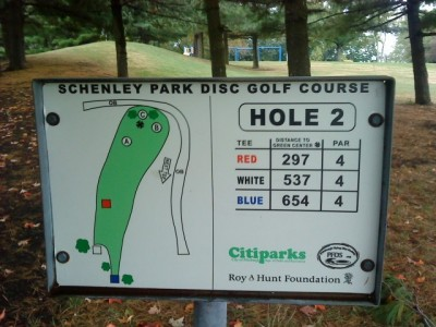 Schenley Park, Main course, Hole 2 Hole sign