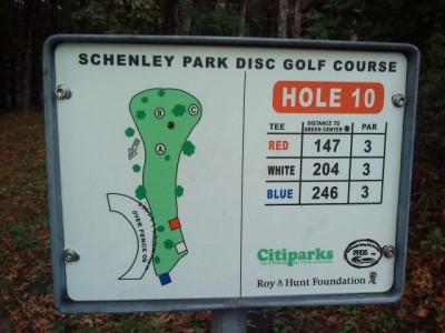 Schenley Park, Main course, Hole 10 Hole sign