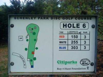 Schenley Park, Main course, Hole 6 Hole sign