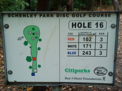 Schenley Park, Main course, Hole 16 Hole sign