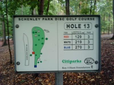 Schenley Park, Main course, Hole 13 Hole sign