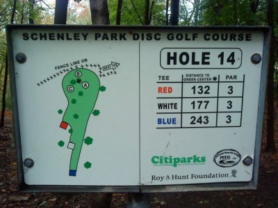 Schenley Park, Main course, Hole 14 Hole sign