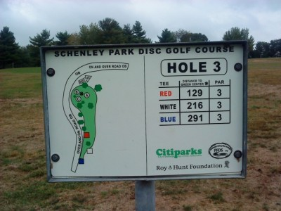 Schenley Park, Main course, Hole 3 Hole sign