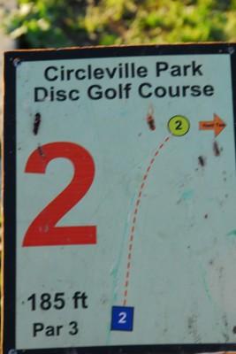 Circleville Park, Main course, Hole 2 Hole sign