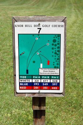 Knob Hill Park, Main course, Hole 7 Hole sign