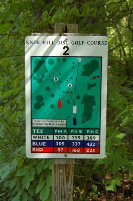 Knob Hill Park, Main course, Hole 2 Hole sign