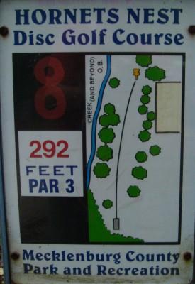 Hornets Nest Park, Main course, Hole 8 Hole sign