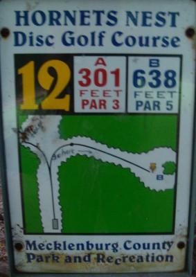 Hornets Nest Park, Main course, Hole 12 Hole sign