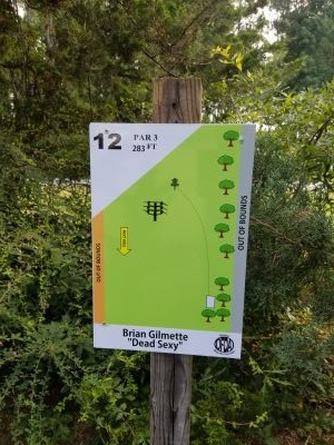 Northeast Creek Park, Main course, Hole 12 Hole sign