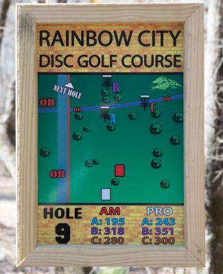 Rainbow City DGC, Main course, Hole 9 Hole sign