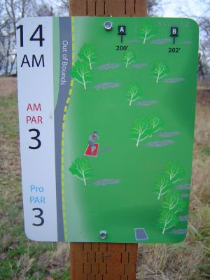 Kincaid Park, Main course, Hole 14 Hole sign