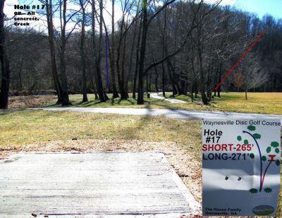 Waynesville DGC, Main course, Hole 17 Tee pad