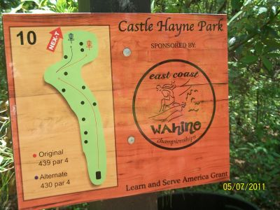 Castle Hayne Park, Main course, Hole 10 Hole sign
