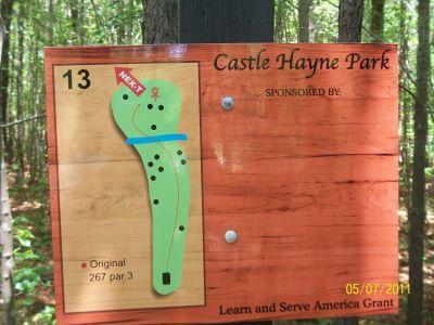 Castle Hayne Park, Main course, Hole 13 Hole sign