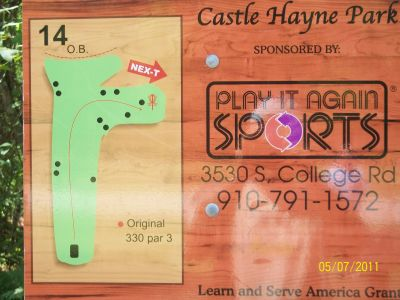Castle Hayne Park, Main course, Hole 14 Hole sign