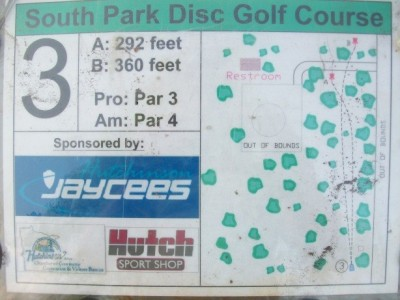 South Park, Main course, Hole 3 Hole sign