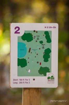 Acorn Park, Main course, Hole 2 Hole sign