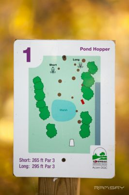 Acorn Park, Main course, Hole 1 Hole sign