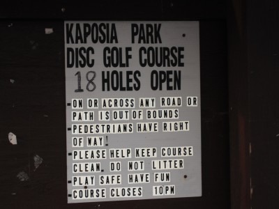 Kaposia Park, Main course, Hole 1 Reverse (back up the fairway)