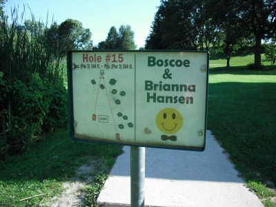 Crystal Lake Park, Main course, Hole 15 Hole sign