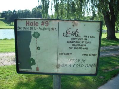 Crystal Lake Park, Main course, Hole 9 Hole sign
