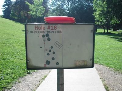 Crystal Lake Park, Main course, Hole 16 Hole sign