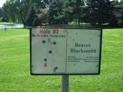 Crystal Lake Park, Main course, Hole 7 Hole sign