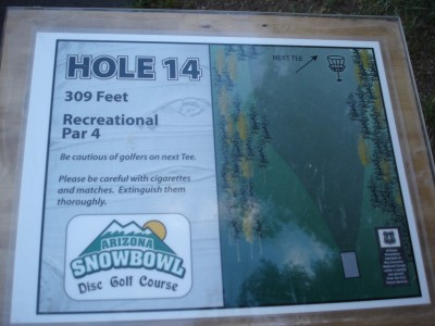 Arizona Snowbowl, Main course, Hole 14 Hole sign