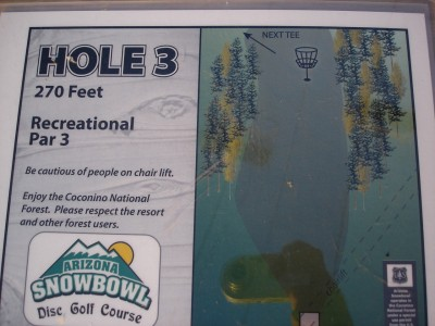 Arizona Snowbowl, Main course, Hole 3 Hole sign
