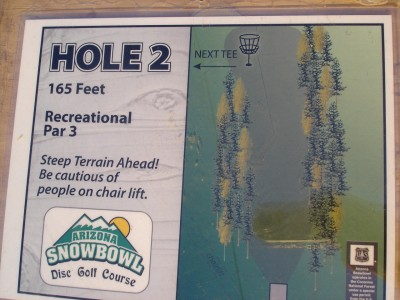 Arizona Snowbowl, Main course, Hole 2 Hole sign
