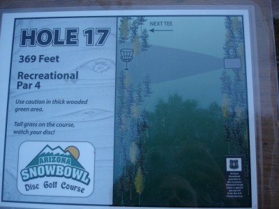 Arizona Snowbowl, Main course, Hole 17 Hole sign