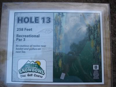 Arizona Snowbowl, Main course, Hole 13 Hole sign