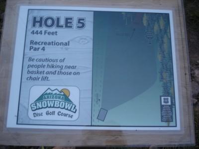 Arizona Snowbowl, Main course, Hole 5 Hole sign