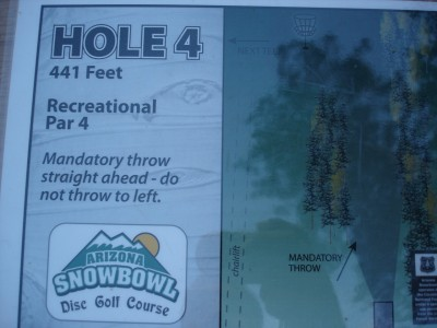 Arizona Snowbowl, Main course, Hole 4 Hole sign