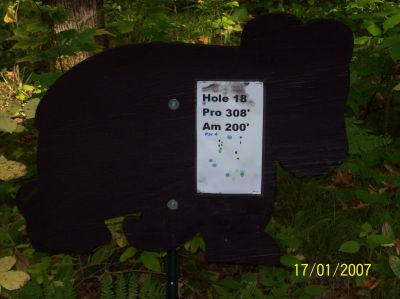 Black Bear Creek, Main course, Hole 18 Hole sign