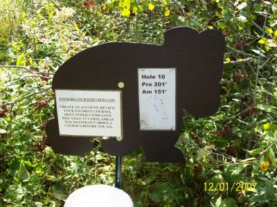 Black Bear Creek, Main course, Hole 10 Hole sign