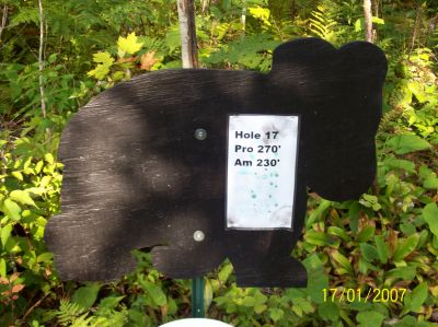 Black Bear Creek, Main course, Hole 17 Hole sign